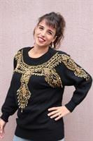 סוודר שחור גרנדיוזי שנדלירי זהב מידה L/XL