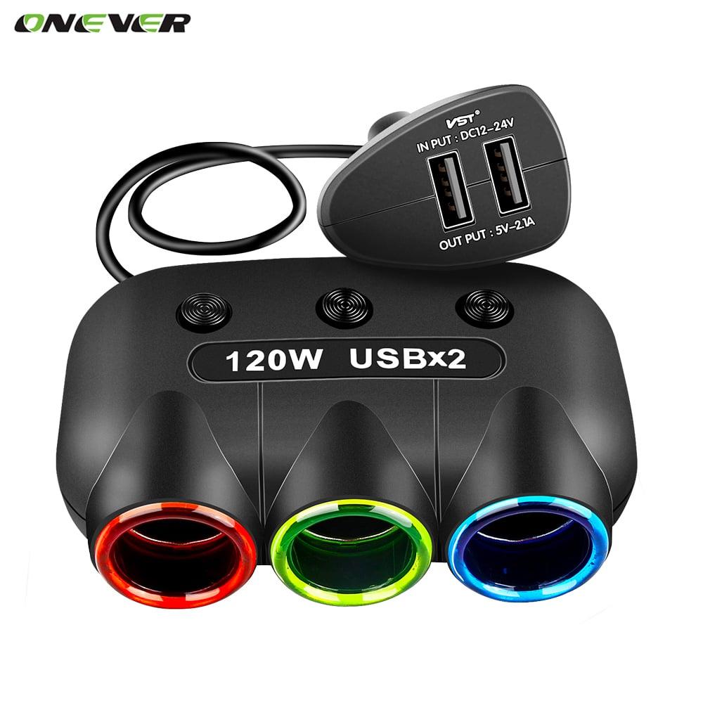 מפצל מקצועי לרכב-מבית המותג onever עם 3 שקעים 120v לרכב + 2 כניסות USB לרכב