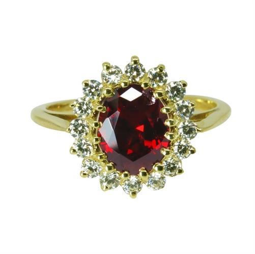 טבעת זהב 14K משובצת אבן חן גרנט אדומה וזרקונים
