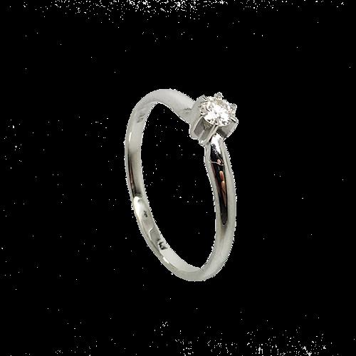 טבעת אירוסין זהב לבן 14K יהלום מרכזי OP06160070308