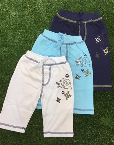 מארז שלישיית מכנסי טריקו כחול נייבי-תכלת-לבן