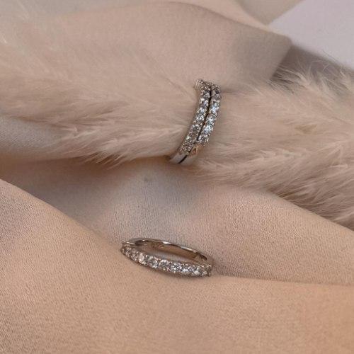 טבעת זרת- פס משובץ
