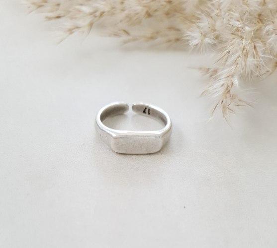 טבעת חותם מלבן כסף