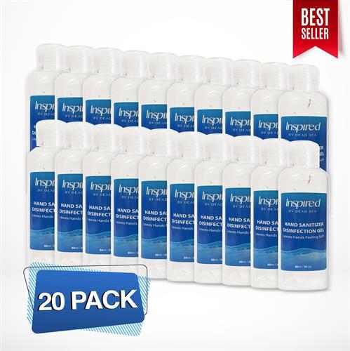 """20 יחידות של אלכוג'ל - גל הגייני לניקוי הידיים  70% אלכוהול - 60 מ""""ל INSPIRED מסדרת מוצרי ים המלח"""