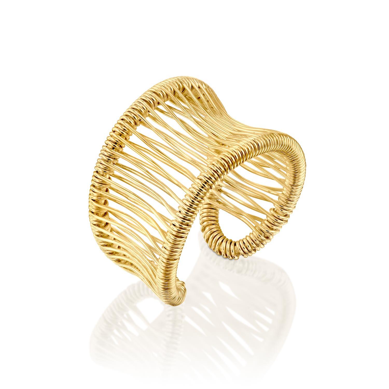 טבעת משי צהוב חלקה