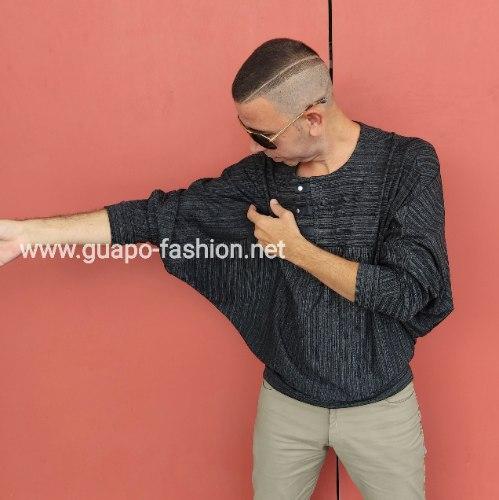 חולצת קימונו עם פסים לגברים