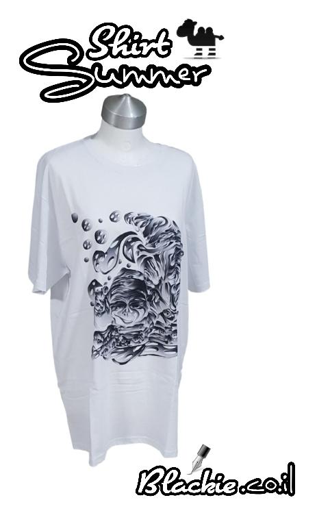 חולצה לבנה לקייץ הדפס גראפי מגמון