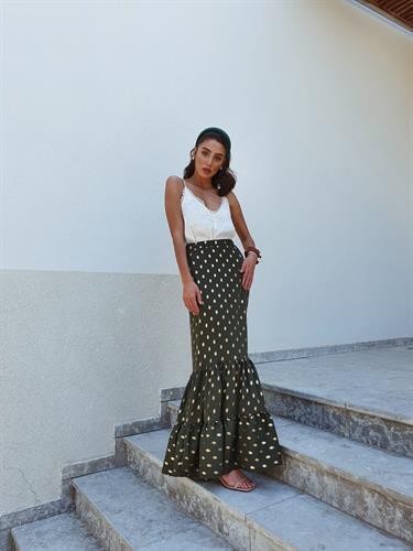 חצאית מקסי ברודווי - פרינט שחור עיגולי זהב