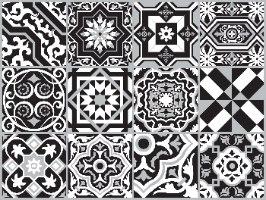 """מדבקות אריחים 10*10 ס""""מ אקלקטי שחור לבן   TIVA DESIGN"""