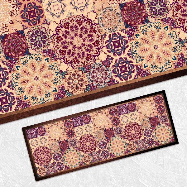 """שטיח פי וי סי למטבח """"מנדלות מג'נטה- חום""""  שטיח למטבח  שטיח פי וי סי   שטיח PVC   שטיח פי וי סי מעוצב"""
