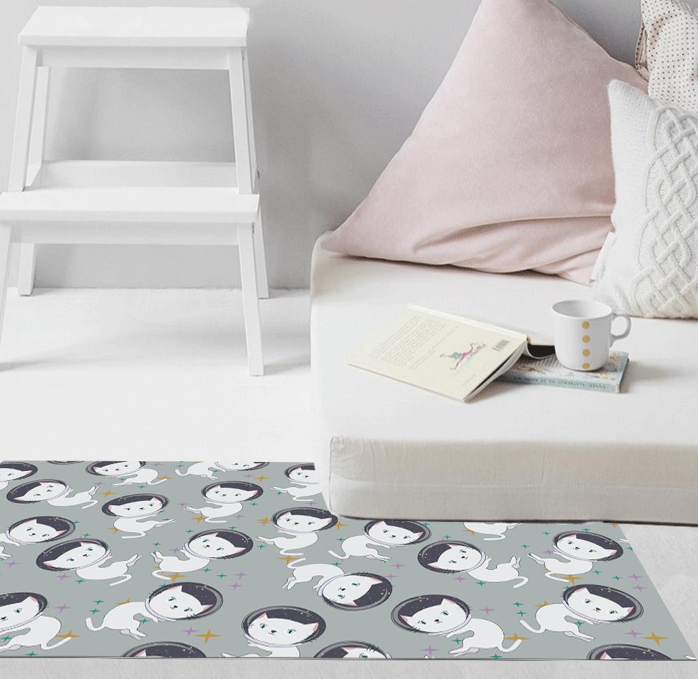 שטיח PVC | דגם חתולים רקע אפור