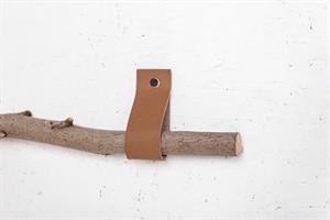 זוג רצועות עור לתליית הענף - אורך קצר. צבע קאמל