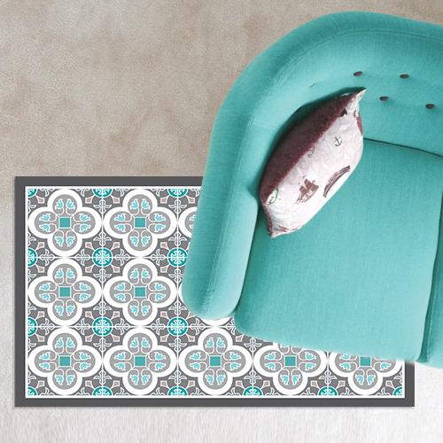 שטיח PVC ויניל לעיצוב הבית - אפור טורקיז (דגם 1007)