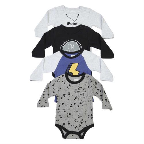 סט 4 בגדי גוף אפור מלאנג שחור כחול אפור כהה