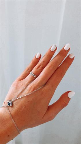 צמיד טבעת שאדי עין עם נקודה כחולה- כסף 925