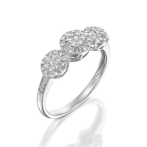 טבעת מגיני האהבה משובצת יהלומים בזהב לבן 14 קראט