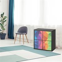 4 יח' טפט להדבקה על דלת כוורת (KALLAX)- משולשים אוריגמי צבעוני