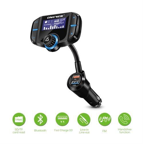 משדר fm מקצועי לרכב דגם waza70 הכולל: נגן לרכב+2 כניסות usb+בלוטוס+aux