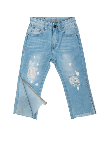 ג׳ינס קרעים שסע בצד כחול בהיר  ORO