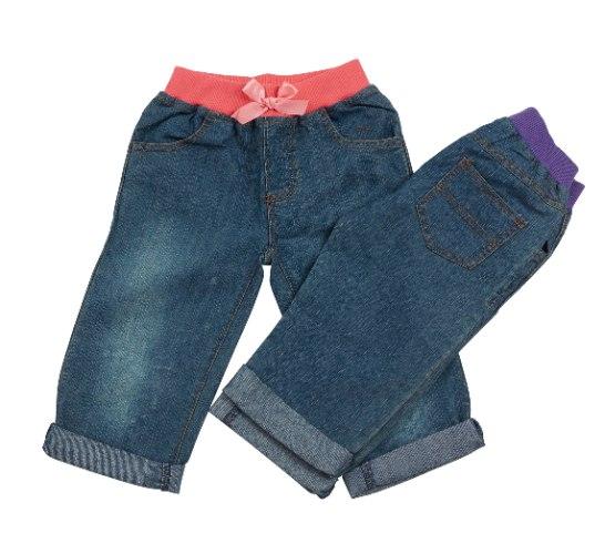 זוג מכנסי ג'ינס אפרסק וסגול