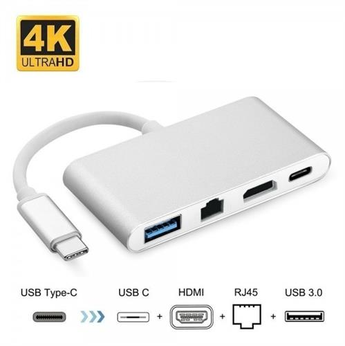 מתאם USB C ל- HDMI 4K + RJ45 LAN GIGA + USB3.0 + PD
