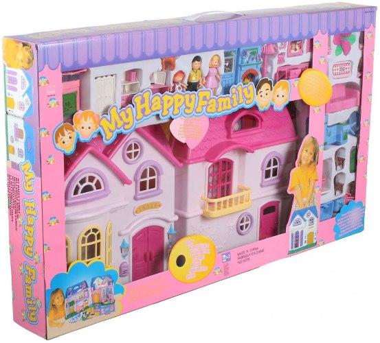 בית בובות מהודר ענק כולל אביזרים ותאורה MY HAPPY FAMILY