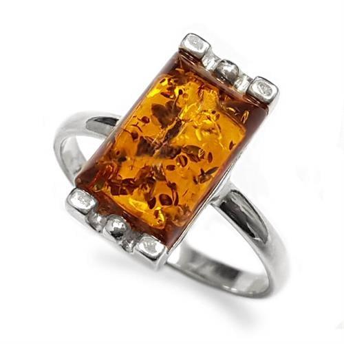 טבעת מכסף משובצת ענבר RG5917 | תכשיטי כסף 925 | טבעות כסף