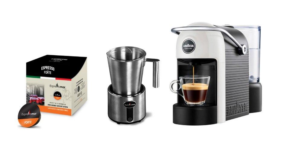 מכונת קפה Lavazza Jolie + מקציף חלב  Milk It ו36 קפסולות במתנה