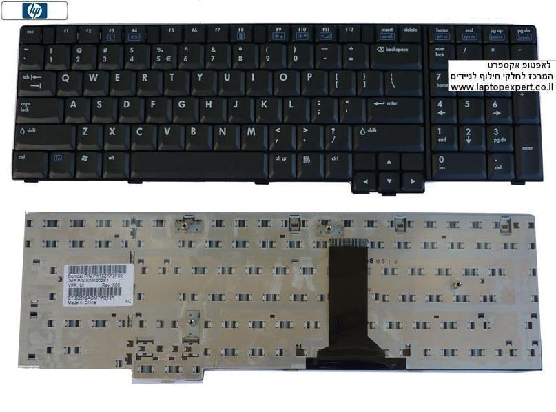 מקלדת למחשב נייד קומפאק אייץ.פי HP NC8700 / 8710P / 8710W 450471-001 , PK1300X04S0 , K070602F1 , PK13ZKF3F00