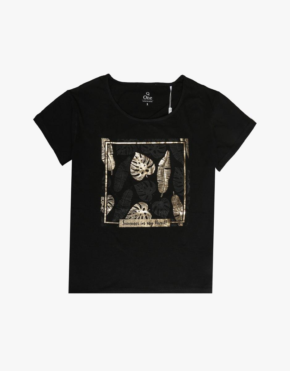 חולצת טריקו מעוצבת עלי זהב / שחור