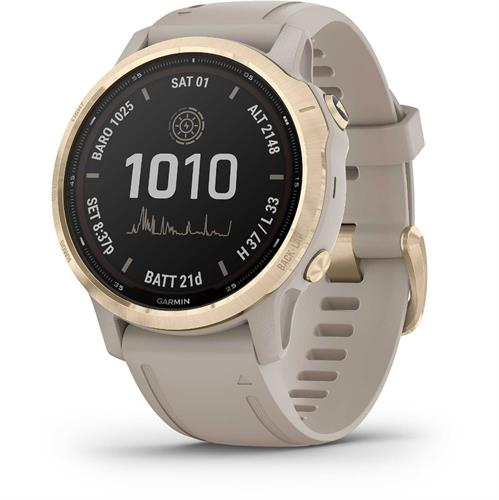 שעון דופק Garmin Fenix 6s Pro Solar Light Gold with Light Sand Band