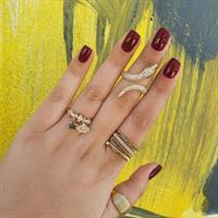 טבעת זהב עם צ'ארמס זרקונים נופלים