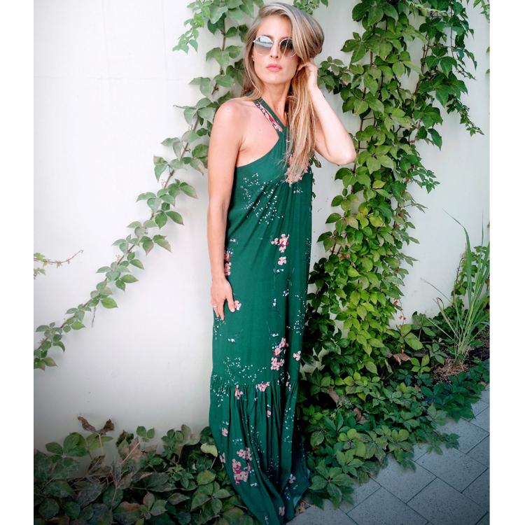 שמלת טינקרבל ירוק פרחוני ונגיעות כסף