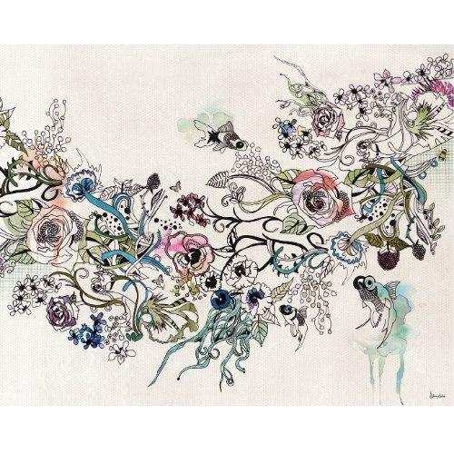ציור צבעוני עם דגים וצבעי מים