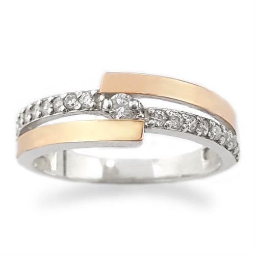 טבעת כסף מצופה זהב 9K משובצת אבני זרקון  RG5939 | תכשיטי כסף | טבעות כסף