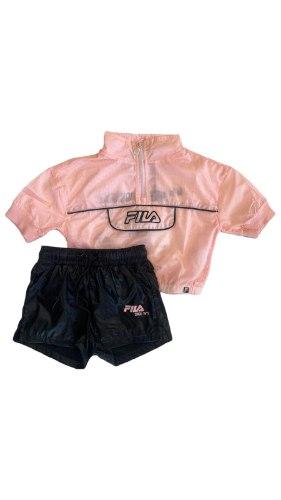 חליפת מכנס ניילון שחור ורוד (6-16)