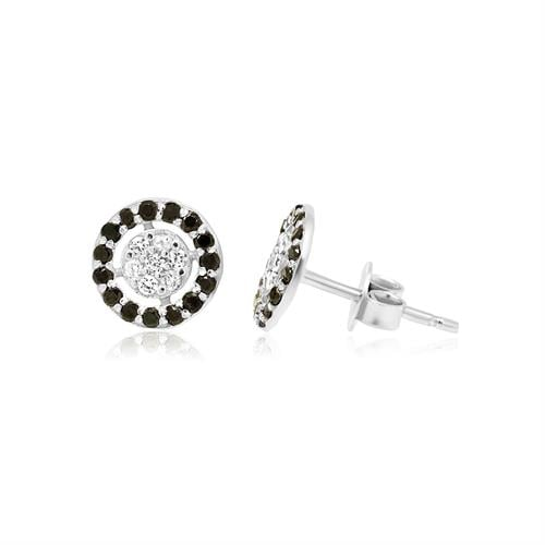 עגילי מעגלי יהלומים לבנים ושחורים 0.36 קראט בזהב 14 קאראט