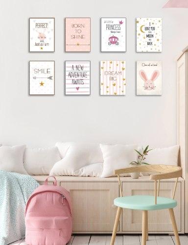 שמיניית תמונות השראה לחדר תינוקת, ילדה או נערה דגם 806