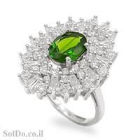 טבעת כסף משובצת אבני כרום דיופסיד וזרקונים RG1581 | תכשיטי כסף 925 | טבעות כסף