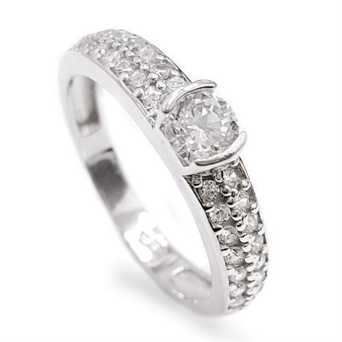 טבעת כסף משובצת זרקון סוליטר 4mm ואבני זרקון בצדדים RG5588   תכשיטי כסף   טבעות כסף