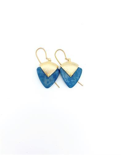 עגילי שרה גווני כחול ירוק- זהב
