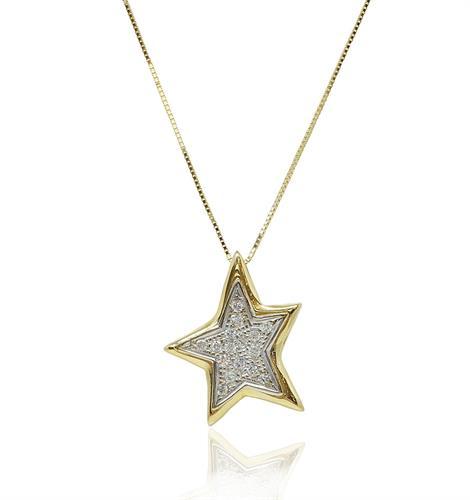 שרשרת ותליון כוכב זרקונים זהב צהוב ולבן משולב