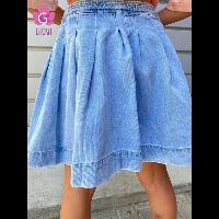 חצאית ג'ינס קפלונים
