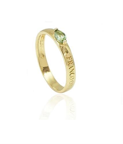 טבעת זהב עם אבן חן טורמלין| טבעת הדגל של פרנקו אורו