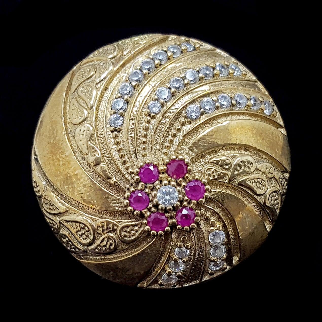 טבעת מכסף משובצת רובי קוורץ ואבני זרקון לבנות  RG5681 | תכשיטי כסף 925 | טבעות כסף