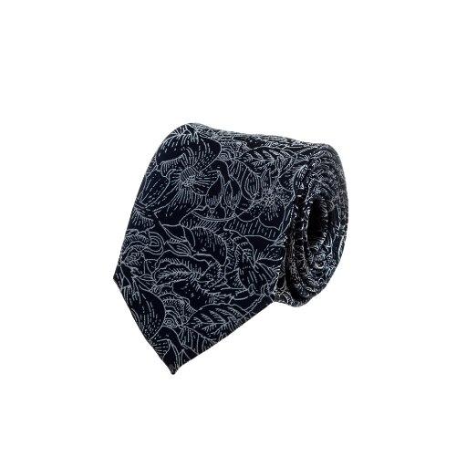 עניבה כחולה עם שרטוט עלים