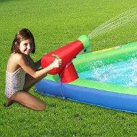 מגלשת מים כפולה משולבת עם מתקן קפיצה - Happy hop - קפיץ קפוץ