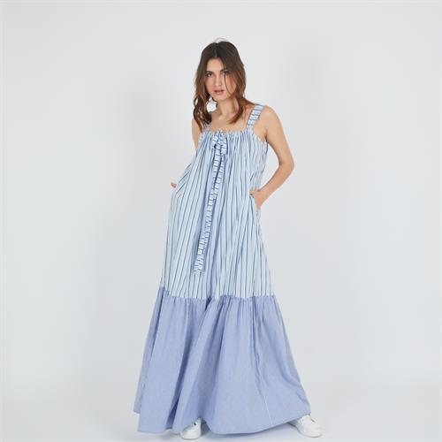 שמלת פלורי מקסי תכלת