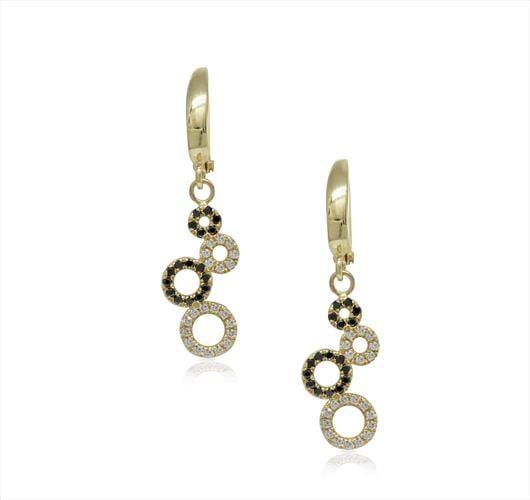 עגילי זהב משובצים יהלומים שחורים ולבנים תלויים דגם דונה בלה