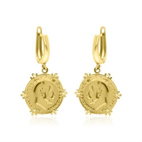עגילי זהב נתלים מטבע